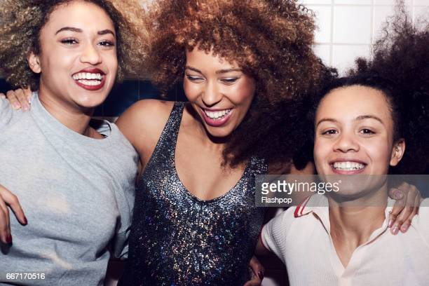 friends having fun together - big hair stock photos and pictures