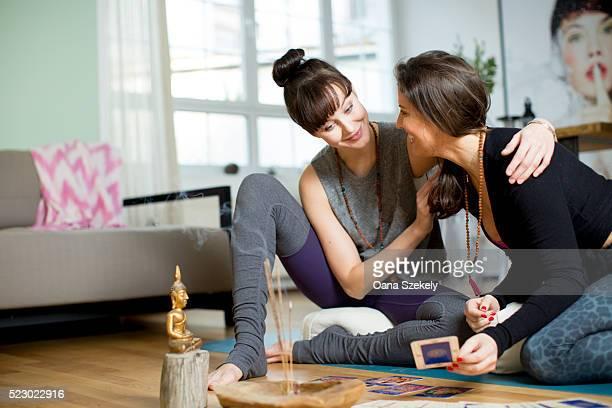 Friends having fun whit yoga