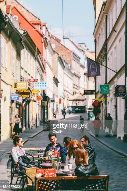 friends having morning coffee in zagreb - zagreb stock pictures, royalty-free photos & images