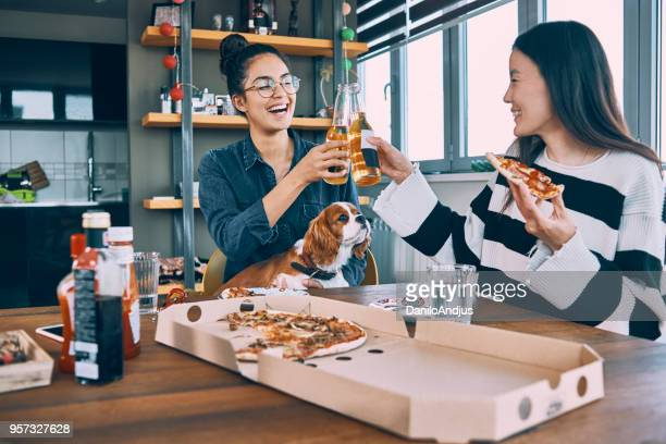friends having pizza for lunch and having fun with the dog - mongolian women stock photos and pictures