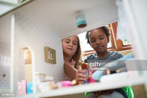 friends having some fun - dollhouse stock pictures, royalty-free photos & images