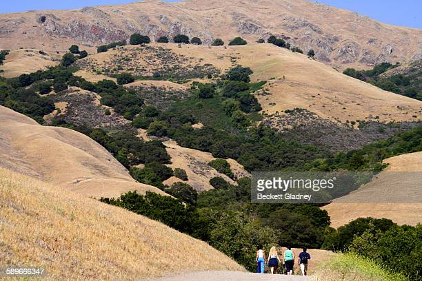 Friends hiking in California Foothills