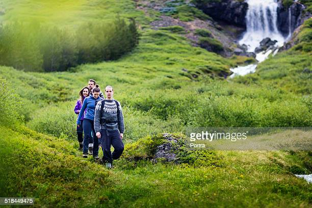 Friends hiking in Iceland