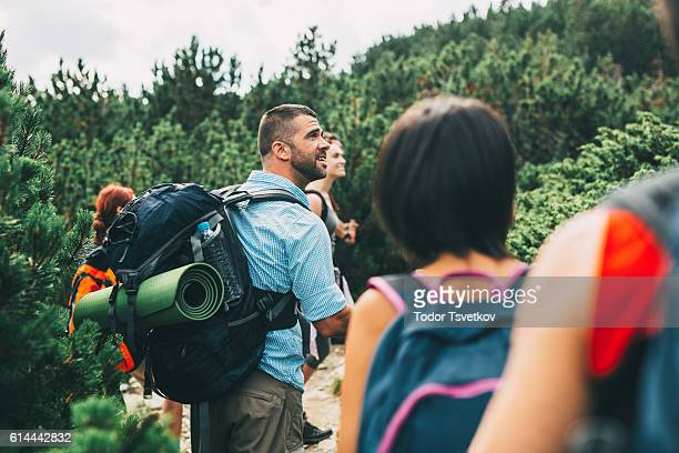 Friends hiking in the mountain
