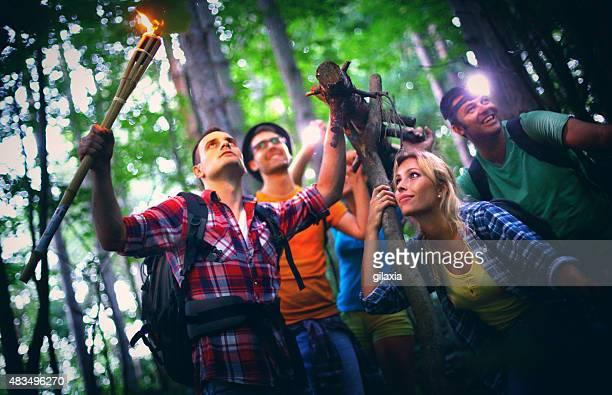 Freunde Wandern im Wald.