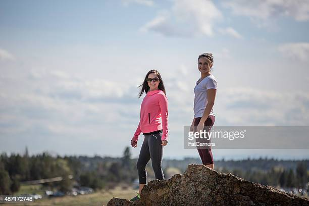 friends hiking outdoors - fat lady in leggings stock photos and pictures