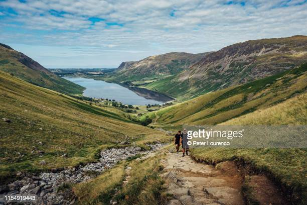 friends hiking - cumbria stock pictures, royalty-free photos & images