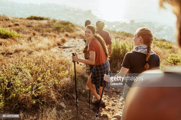 friends hiking - backpacker stock pictures, royalty-free photos & images