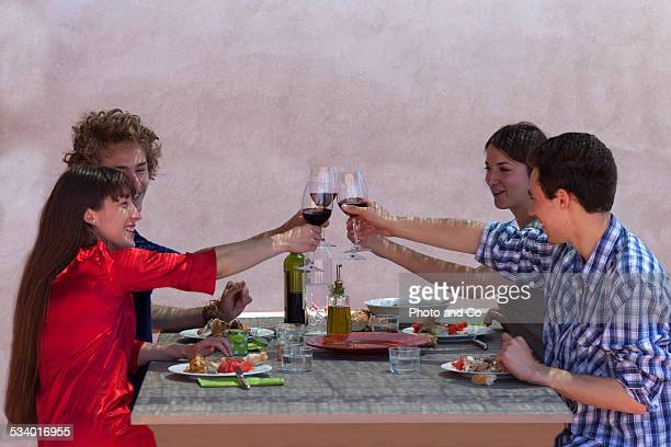 friends in a dinner party