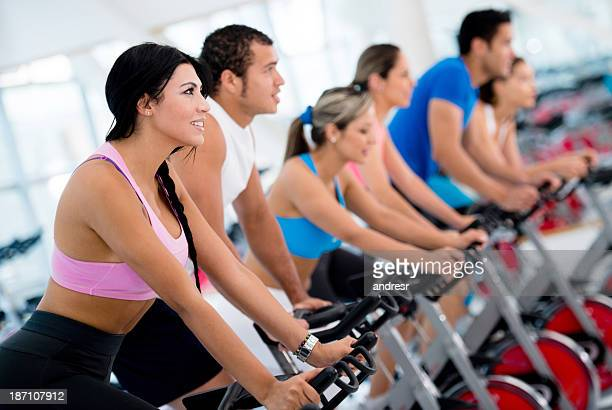 Friends in a spinning class