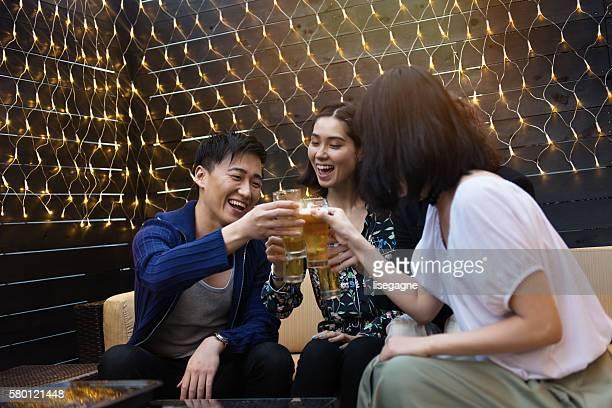Friends in a nightclub