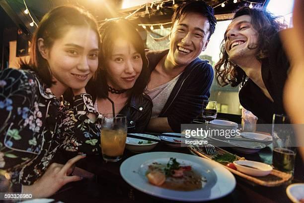 Friends in a Pub in Japan