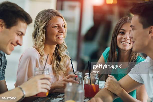 Friends in Enjoy In Cafe.