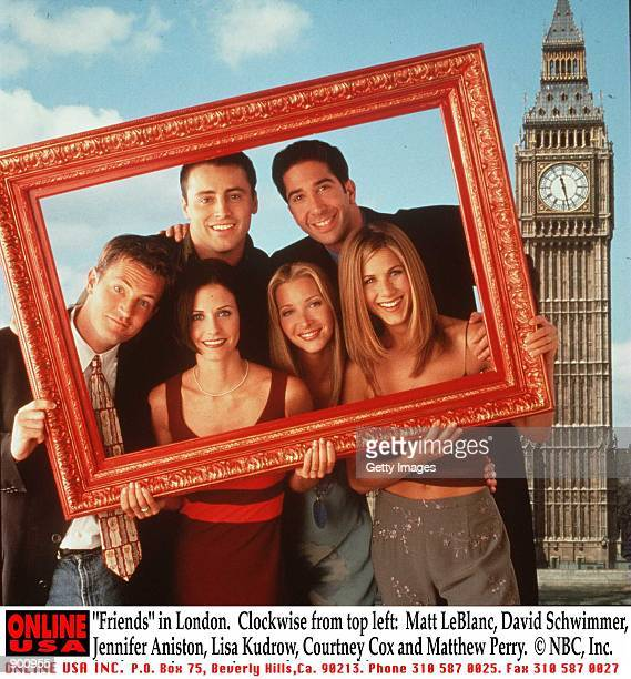 """Friends"" in London. Clockwise from top left: Matt LeBlanc, David Schwimmer, Jennifer Aniston, Lisa Kudrow, Courteney Cox and Matthew Perry."