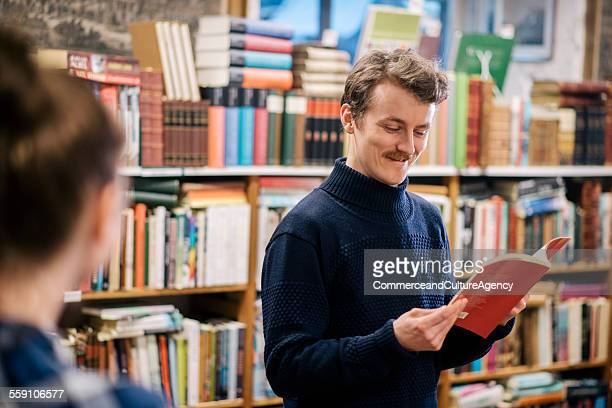 Friends in second hand bookstore