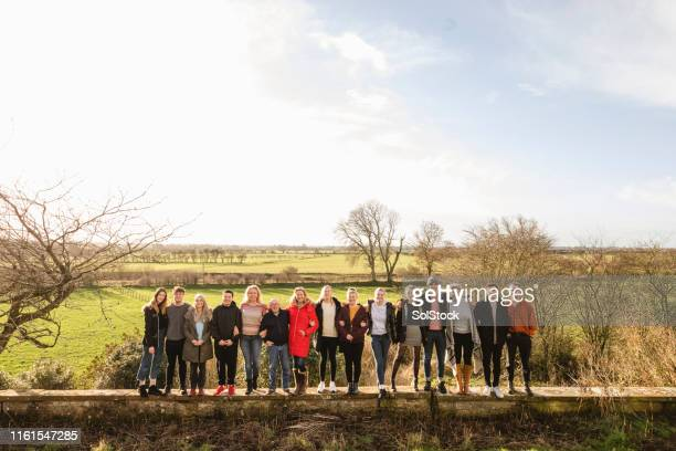 friends in the countryside - large group of people stock pictures, royalty-free photos & images