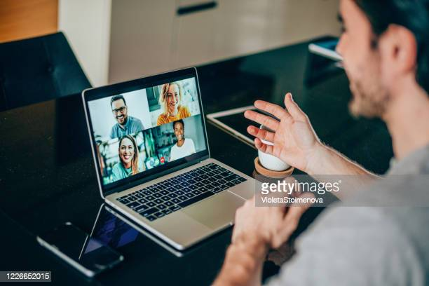 friends in video call - internet stock pictures, royalty-free photos & images