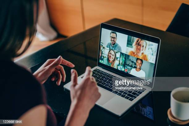friends in video call - employee engagement stock pictures, royalty-free photos & images