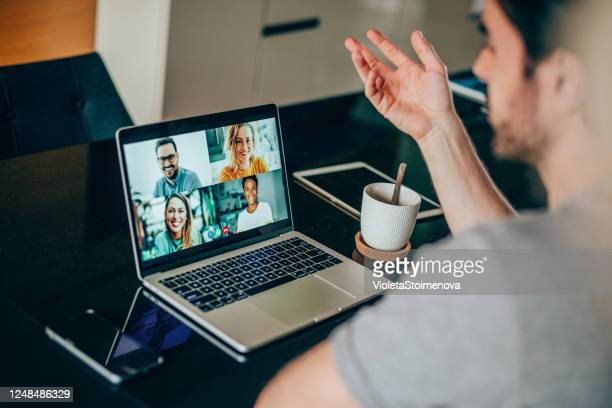 friends in video call - video still stock pictures, royalty-free photos & images