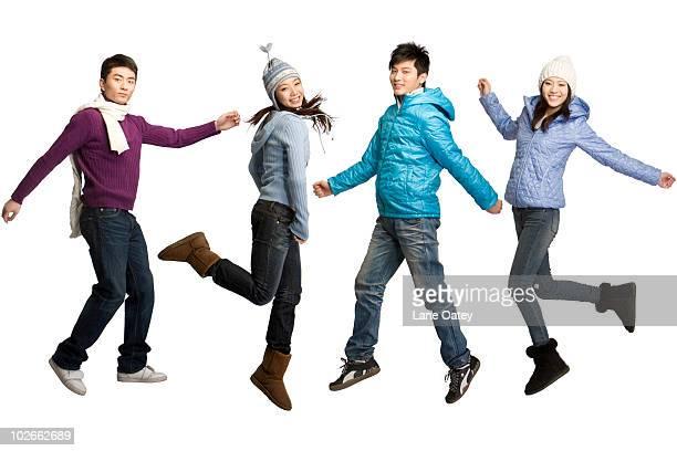Friends in winter wear