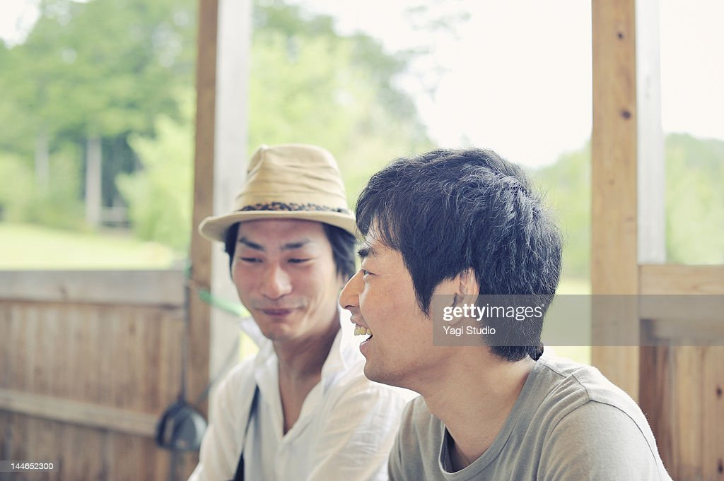 Friends is talking with the smile. : Stock Photo