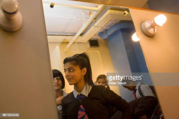 Friends Laiba Abbasi and Robyn Kullar in the female changing room at The Beck Theatre Laiba is playing Adriana and Robyn her sister Luciana in the...