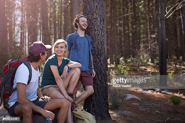 Friends laughing while taking a break, in forrest