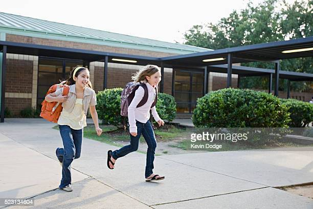 Friends leaving school