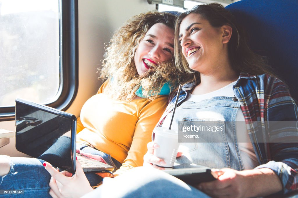 Friends Listening To Music And Having a Great Day In Train : Stock Photo