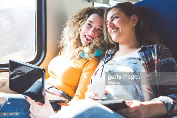 Friends Listening To Music And Having a Great Day In Train