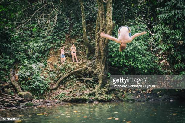 friends looking at man jumping into river in rainforest - waterhole stock pictures, royalty-free photos & images