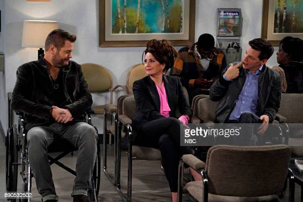 WILL GRACE 'Friends Lover' Episode 104 Pictured Nick Offerman as Jackson Boudreaux Megan Mullally as Karen Walker Sean Hayes as Jack McFarland