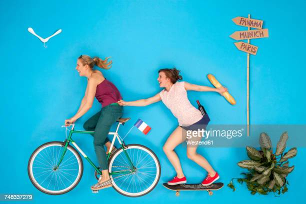 Friends making a bicycle tour to France