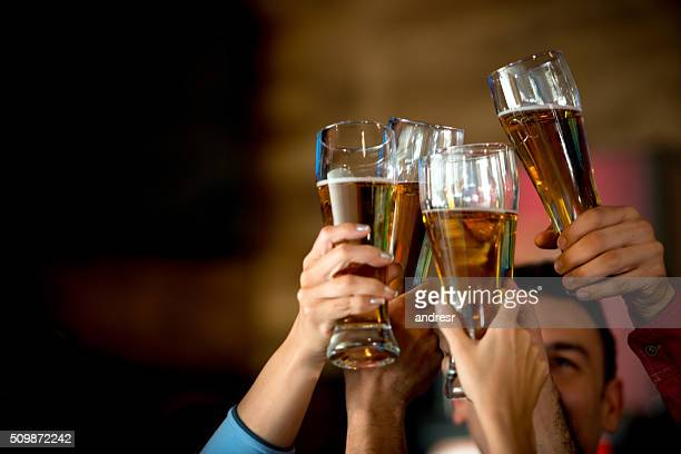 Friends making a toast at the bar