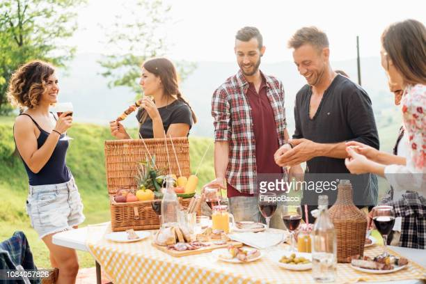 friends making an aperitif and drinking wine during a barbecue party - aperitif stock photos and pictures