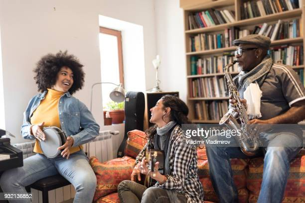friends making jam session in studio - jazz stock pictures, royalty-free photos & images