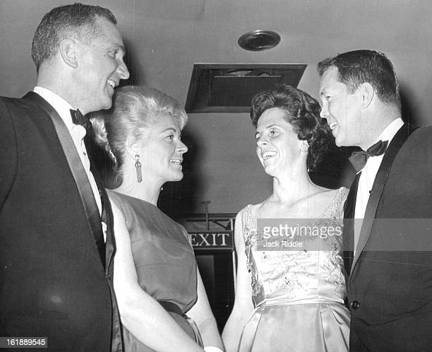 APR 4 1964 APR 7 1964 Friends Meet over cocktails at Junior League Ball The Florian Barths left stopped to talk with Mr and Mrs Ormand Birkland Jr...