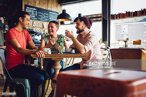 Friends meet up in their favorite Cafe
