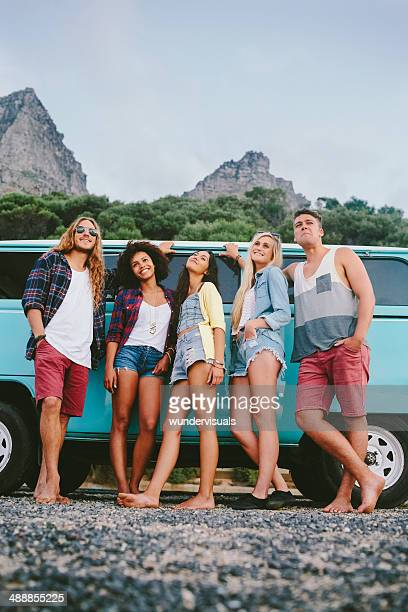 Friends near camper van