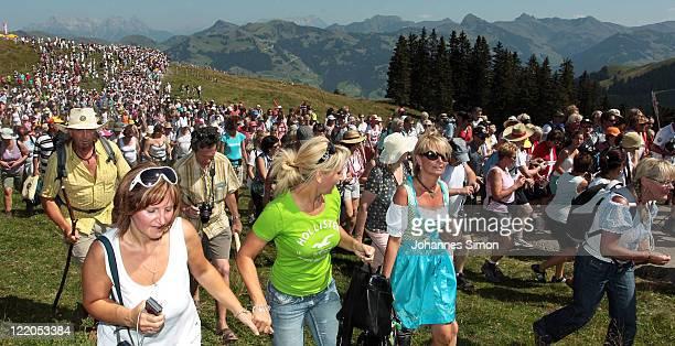 Friends of Austrian singer Hansi Hinterseer participate in the annual Hansi Hinterseer fan hiking tour on August 25, 2011 in Kitzbuehel, Austria....