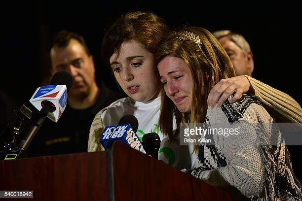 Friends of Christina Grimmie Lauren Longo and Sarah Luebkemann speak to the crowd during the Vigil For Christina Grimmie at Evesham Memorial Complex...