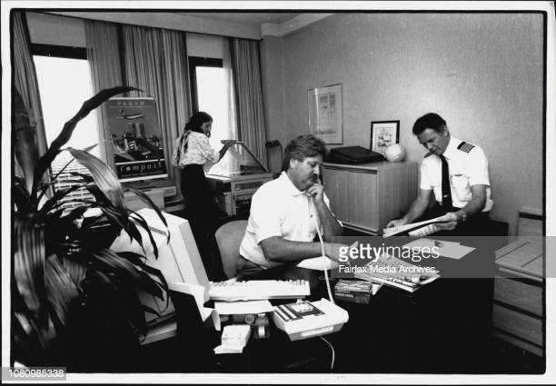 Friends of Compass Campaigning in their donated Hilton Executive suite Alex Klujin on phone Fr Captain Warren Cashion Right Elizabeth Bowerman in...