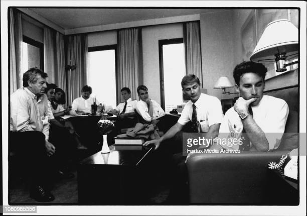 Friends of Compass Campaigning in their donated Hilton Executive suite Former Compass employees listen to their Boss Grey speak on RadioL to R Ken...