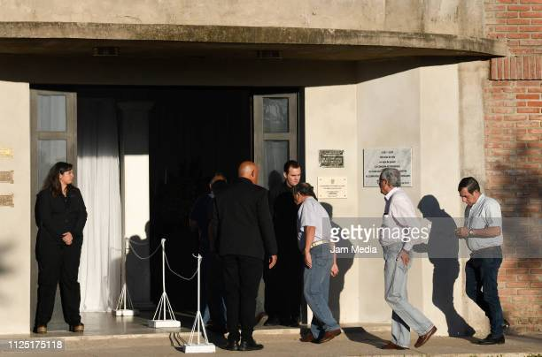 Friends of Emiliano Sala arrive to the club to pay their respects during a vigil at Sala's boyhood club San Martin de Progreso on February 16 2019 in...