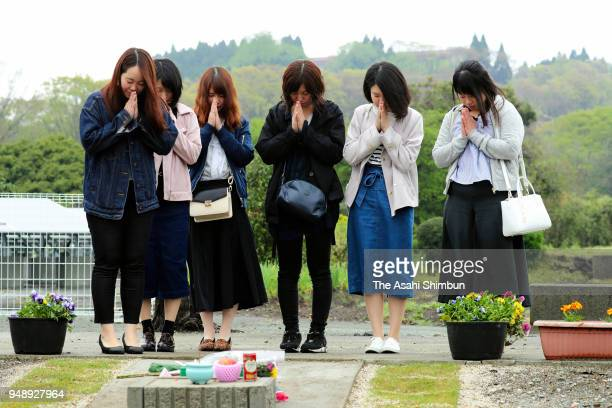 Friends of Shihomi Waki visit the site where their daughter lost her life on April 15 2018 in Minamiaso Kumamoto Japan The first of the two big...