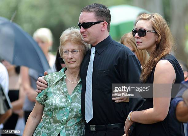 Friends of the deseaed mourn at the funeral of mother and son killed in last week's flash floods on January 19 2011 in Toowoomba Australia Donna...