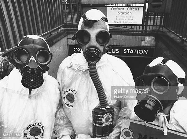 Friends of the Earth handing out antinuclear material at Oxford Circus Environmentalists distributing antinuclear leaflets London 1980