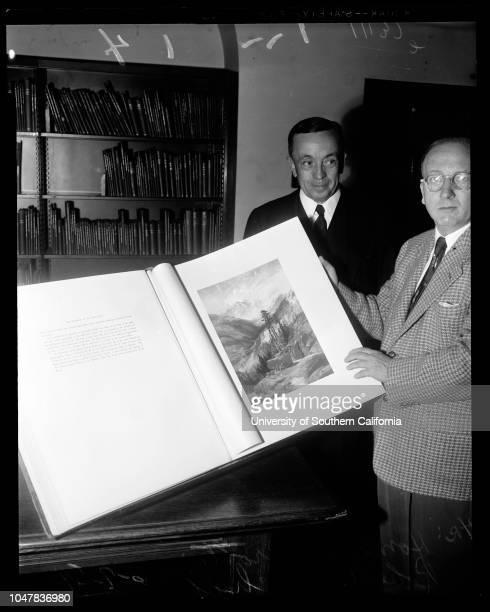 Friends of the Huntington Library 7 June 1954 Homer D Crotty Robert O Schad Caption slip reads 'Photographer Richardson Date Reporter Swaim...