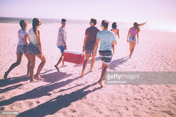 Friends on a beach carrying cooler box for a party