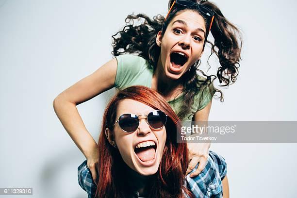 Friends on a piggyback